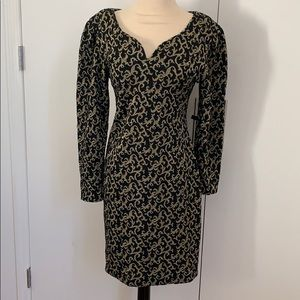 Vintage 80s black and gold bodycon knit dress sz 8
